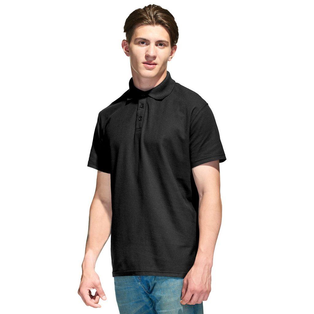 Мужская рубашка поло с именной вышивкой (Черный)
